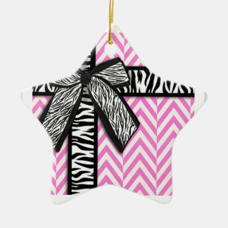 Pink animal print with bow design ceramic star ornament