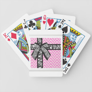 Pink animal print with bow design poker deck