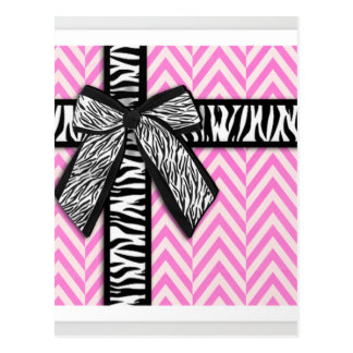 Pink animal print with bow design postcard