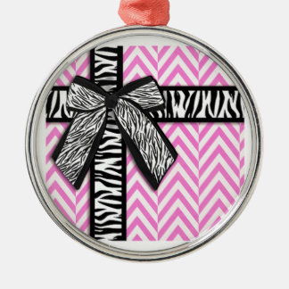 Pink animal print with bow design Silver-Colored round ornament