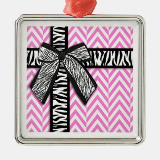 Pink animal print with bow design Silver-Colored square ornament