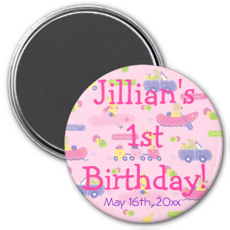 Pink Animals On The Go Girl Birthday Party Favor 3 Inch Round Magnet
