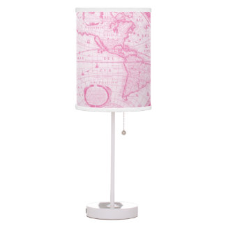 Pink Antique Map of the World travel decor Lamp