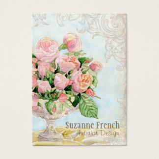 Pink Antique Vintage Elegant Lavish French Roses Business Card