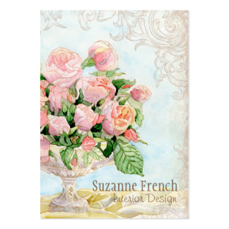 Pink Antique Vintage Elegant Lavish French Roses Large Business Card