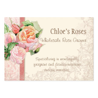 Pink Antique Vintage Elegant Lavish French Roses Pack Of Chubby Business Cards