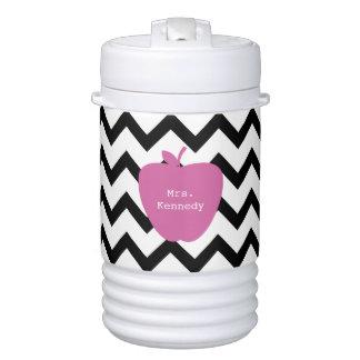 Pink Apple Black Chevron Teacher Beverage Cooler