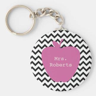 Pink Apple Black Chevron Teacher Basic Round Button Keychain