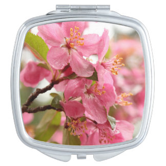 Pink Apple Blossom Flower Photo Makeup Mirrors