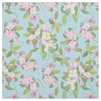 Pink Apple Blossom on Sky Blue Leafy Background Fabric