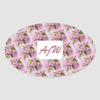 PINK APPLE BLOSSOMS MONOGRAMMED OVAL STICKER