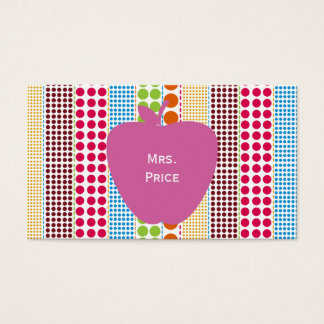 Pink Apple Boho Dots Teacher Business Card