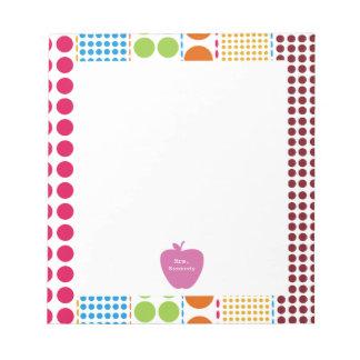 Pink Apple Boho Dots Teacher Notepad