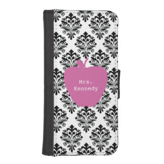 Pink Apple Damask Wallet Case For iPhone iPhone 5 Wallet