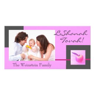 Pink Apple Rosh Hashanah photo card