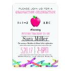 Pink Apple Teacher Graduation Invitation