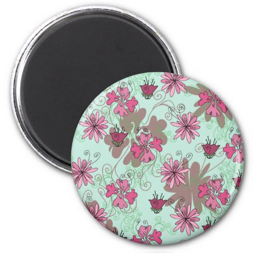 Pink Aqua and Beige Floral Pattern Refrigerator Magnet