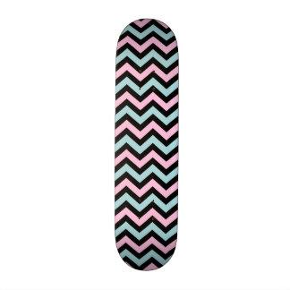 Pink aqua and black chevron skate board