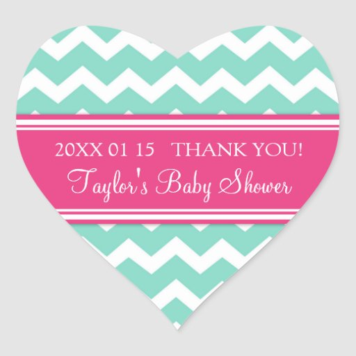 Pink Aqua Chevron Baby Shower Favor Stickers