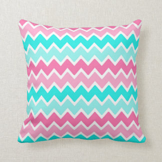 Pink Aqua Turquoise Blue Ombre Chevron Pillow