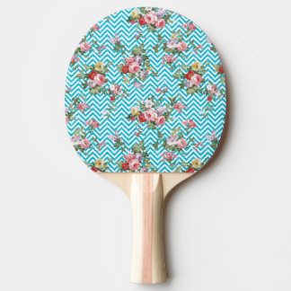 Pink Aqua Vintage Floral Chevron Glitter Print Ping-Pong Paddle