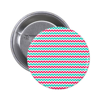 Pink, Aqua, White Chevron Striped Pinback Buttons