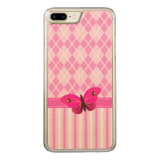 Pink Argyle and Stripes Pattern Wooden Butterfly Carved iPhone 8 Plus/7 Plus Case