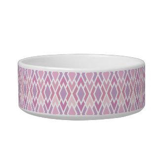 Pink Argyle Cat Food Bowl