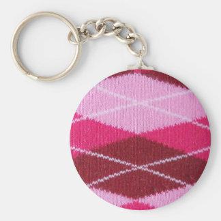 Pink Argyle Coziness Basic Round Button Keychain