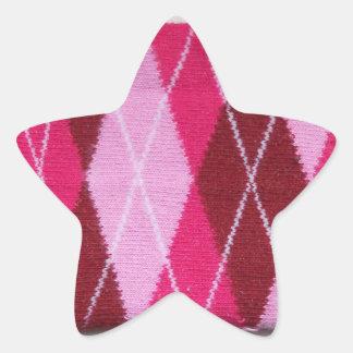 Pink Argyle Coziness Star Sticker