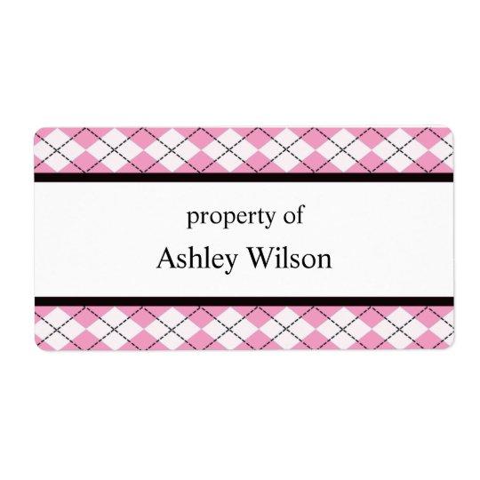 Pink Argyle Labels