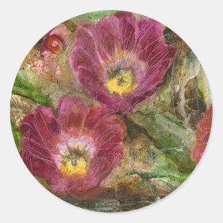 Pink Arizona Desert Flowers Classic Round Sticker