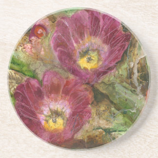 Pink Arizona Desert Flowers Coaster