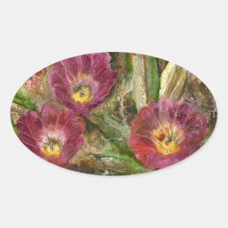 Pink Arizona Desert Flowers Oval Sticker