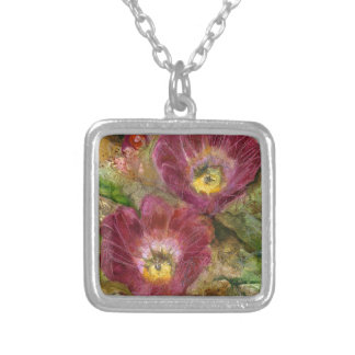 Pink Arizona Desert Flowers Silver Plated Necklace