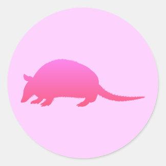 Pink Armadillo Round Sticker
