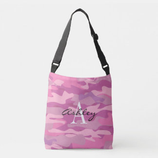 Pink army camo camouflage custom cross body bag