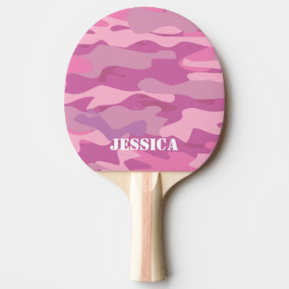 Pink army camouflage ping pong paddle for girls