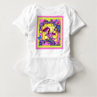 Pink art Blue Morning glories Baby Bodysuit