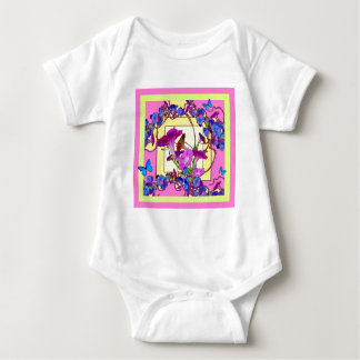Pink art Blue Morning glories Baby Bodysuit