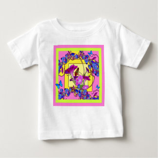 Pink art Blue Morning glories Baby T-Shirt