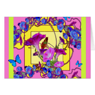 Pink art Blue Morning glories Card