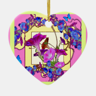 Pink art Blue Morning glories Ceramic Heart Ornament