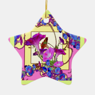 Pink art Blue Morning glories Ceramic Star Ornament