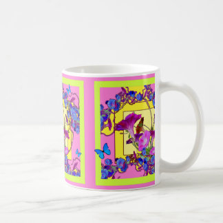 Pink art Blue Morning glories Coffee Mug