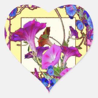 Pink art Blue Morning glories Heart Sticker