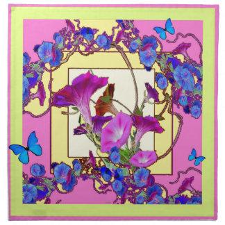 Pink art Blue Morning glories Napkin