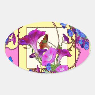 Pink art Blue Morning glories Oval Sticker