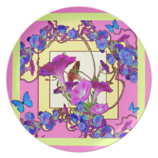 Pink art Blue Morning glories Plate