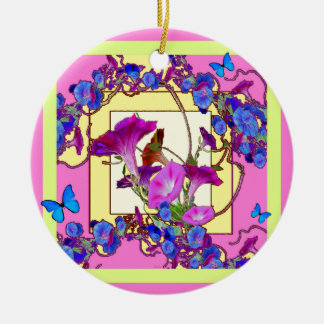 Pink art Blue Morning glories Round Ceramic Ornament
